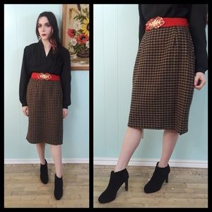 Beautiful Vtg 50s houndstooth pencil skirt m